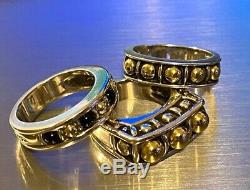 Rare Lagos 925 Sterling Silver 18K Gold Black Onyx Beaded Ring 7.54g Sz 6.75