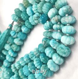 Rare Larimar Carved Rondelle Shape Beads, Natural Larimar Carving Melon Shape 15
