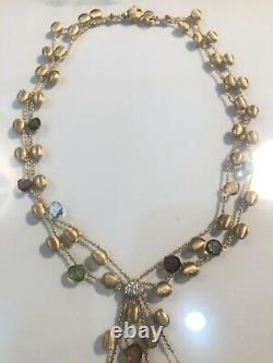 Rare Marco Bicego 18k Africa Necklace Diamonds Gemstones Brushed Gold Beads