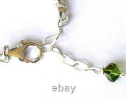 Rare Multi Tourmaline Beads Bracelet Solid 925 Sterling Silver 7 8 #2472