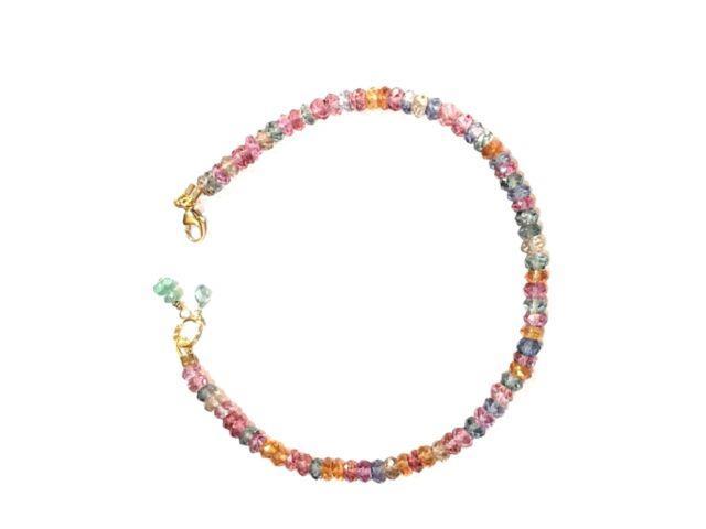 Rare Multi-colored Topaz Gemstone Bracelet Solid 14k Yellow Gold 7 Flexnet
