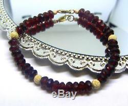Rare Natural Cherry Red Hessonite Garnet Faceted Beads 14k Gold Bracelet
