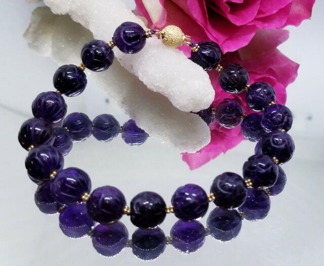 Rare Natural Deep Purple Amethyst Carved Flower Beads 14k Gold Bracelet Aaa+++