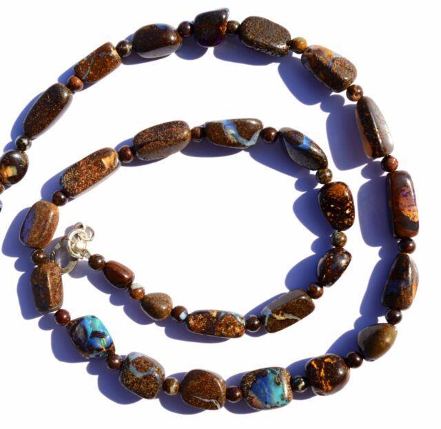Rare Natural Gem Boulder Australian Opal Smooth Nugget & Round Beads Necklace16
