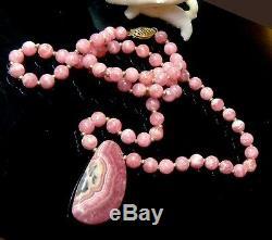 Rare Natural Gem Pink Rhodochrosite 14k Gold Necklace Briolette & Round Beads