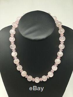 Rare Natural Genuine Rose Quartz Necklace