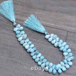 Rare Natural Larimar 7x10mm Gemstone Faceted Briolette Teardrop Beads 8 Strand