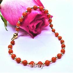Rare Natural Mediterranean Sea Italian Red Coral Beads 14k Gold Bracelet 8