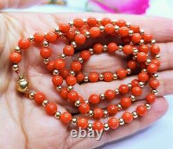 Rare Natural Mediterranean Sea Italian Red Coral Beads 14k Gold Necklace 20
