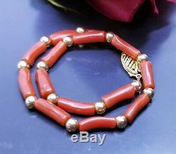 Rare Natural Mediterranean Sea Italian Red Coral Tubes 14k Gold Bracelet 8