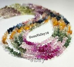 Rare! Natural Multi Sapphire Faceted Teardrop Briolette Beads Gemstone 16strand