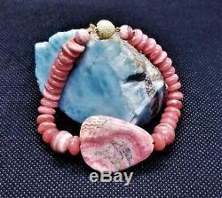 Rare Natural Pink Rhodochrosite 14k Gold Bracelet Fabulous Unique 7.5 Gem Grade