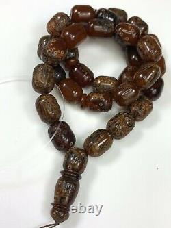 Rare Natural STONE Baltic Amber Prayer Beads Mesbah carved