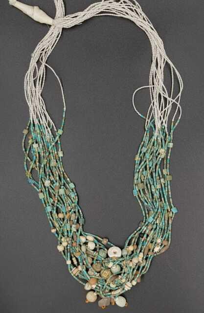 Rare Natural Tinny Tibetan Turquoise Stone With Bone Beads 17 Strand Necklace