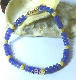 Rare Natural Translucent Purple Blue Tanzanite Beads 14k Gold Bracelet 7.75