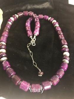 Rare Navajo Native American Purple Sugilite Bead Sterling Silver Necklace 3128