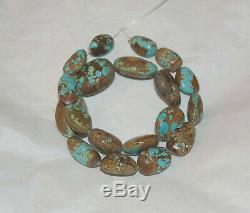 Rare Nevada Number 8 Turquoise Graduated Puffed Oval Shape Beads 16 #69