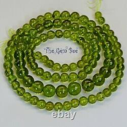 Rare Olive Green Peridot Smooth Round Sphere Globe Beads 23 inch strand