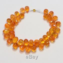 Rare Orange Spessartite Mandarin Garnet Faceted Teardrop Briolette Beads 4