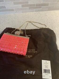 Rare Pink Kate Spade Small Framed Lella /Lemondrop Strawberry W Pineapple Clutch