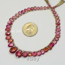 Rare Pink Peacock Watermelon Tourmaline Faceted Pear Briolette Beads 9.5 Strand