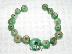 Rare Pre-Columbian Bright Green 17 Piece Lot Jade Small Beads with Medium Center