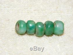 Rare Pre-Columbian Bright Green 5 Piece Lot Jade Small Beads, Wearable History