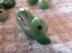 Rare Pre-Columbian Bright Green 7 Piece Lot Jade Figural Tapir and Beads