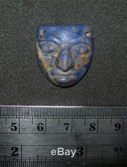 Rare Pre-columbian Moche Lapis Lazuli Face Spacer Bead