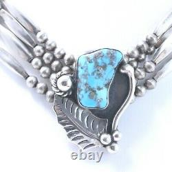 Rare R. Platero Sterling Silver Turquoise Pendant and Beaded Choker Necklace