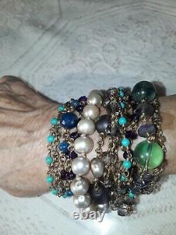 Rare STEPHEN DWECK Multi-Strand Amethyst, Pearl, Quartz Cluster Bracelet Nice