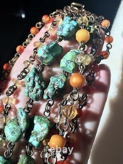 Rare STEPHEN DWECK Multi-Strand Turquoise Amber Quartz Cluster Bracelet WOW