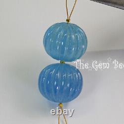 Rare Santa Maria Blue Aquamarine Carved Melon Rondelle Fluted Carving Bead PAIR