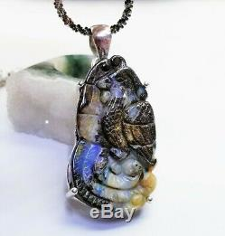Rare Solid Carved Bead Australian Boulder Opal. 925 Ss Pendant Chain Necklace