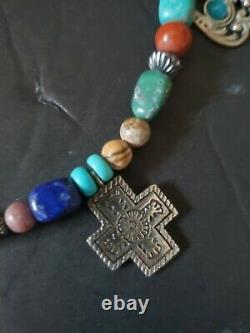 Rare Southwestern Multi Gem Stone Sterling 925 Charm Necklace Carolyn Pollack