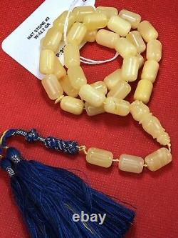 Rare Special STONE White Baltic Amber Prayer Beads 38g