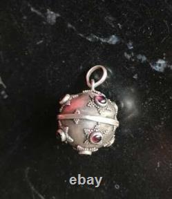 Rare Star With GEMSTONE 925 Sterling Harmony Ball Pendant Vtg BOLA de grossesse