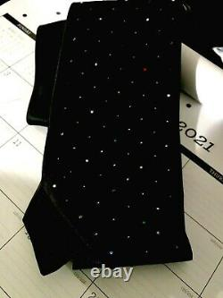 Rare Stefano Ricci Luxury Collection Silk Crystal Swarovski Mens Black Tie Italy