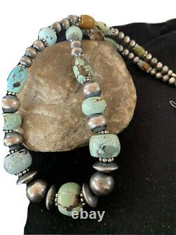 Rare Sterling Silver Navajo PEARLS DRY CREEK TURQUOISE Beads Necklace01385