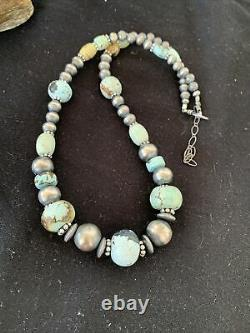 Rare Sterling Silver Navajo PEARLS DRY CREEK TURQUOISE Beads Necklace 1191