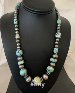 Rare Sterling Silver Navajo PEARLS DRY CREEK TURQUOISE Beads Necklace 1192