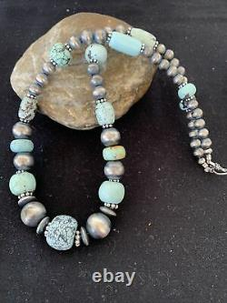 Rare Sterling Silver Navajo PEARLS DRY CREEK TURQUOISE Beads Necklace 1193
