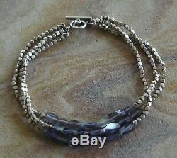 Rare Sundance Catalog Dana Kellin Sterling Silver Gemstone Beaded Bracelet