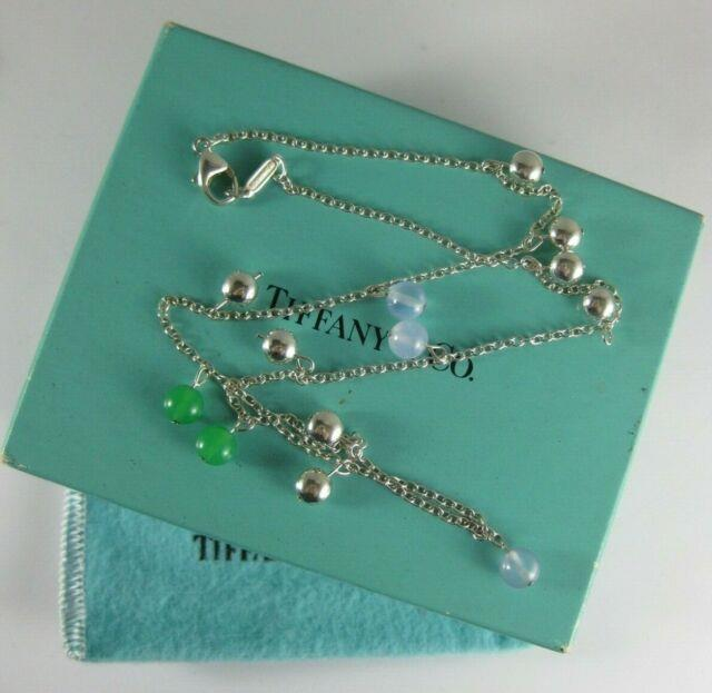 Rare Tiffany & Co Chalcedony & Chrysoprase Ball Bead Sterling Silver Necklace
