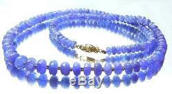 Rare Tanzanite Beads 14k Gold Necklace 100% Natural Translucent Gem Blue 20