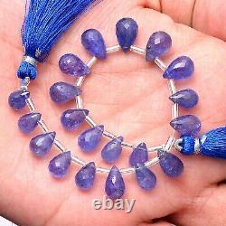 Rare Tanzanite Gemstone 6x9mm-7x11mm Faceted Teardrop Briolette Beads 6 Strand