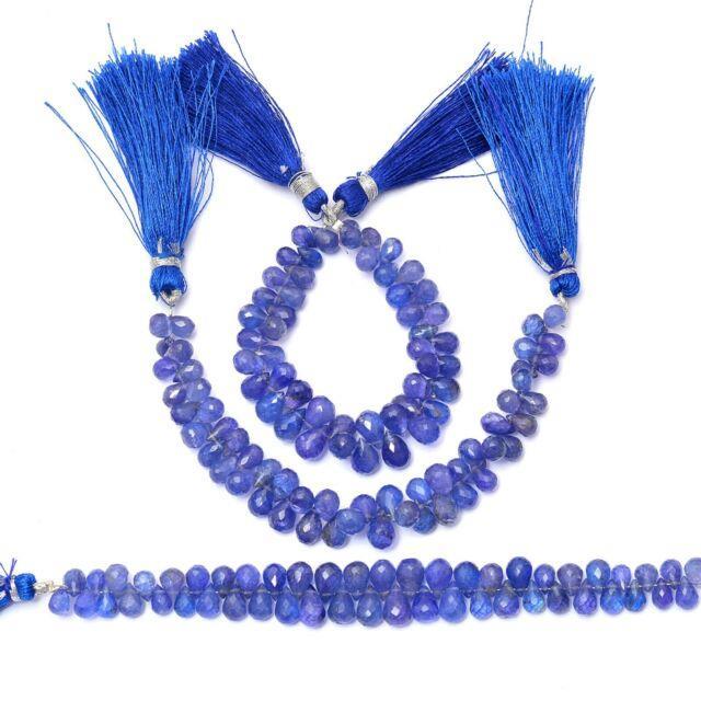 Rare Tanzanite Gemstone 7x5mm-6x8mm Faceted Teardrop Briolette Beads 5 Strand