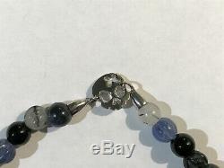 Rare Tateossian Sterling Silver Skull Sodolite Stone Bead Bracelet 17.5 cm BNIB