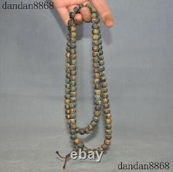 Rare Tibet Mani Stone Carved Six words mantra prayer Buddha Bead amulet necklace
