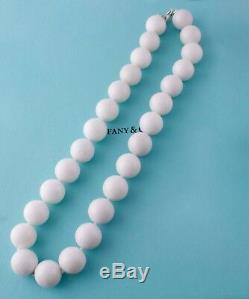 Rare Tiffany & Co 16 mm White Agate Gemstone Beads Silver Necklace 19 inches